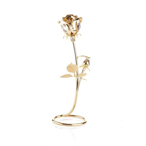 24K Gold Plated Crafted Rose Table Top Ornament Made w//Genuine Matashi Crystals