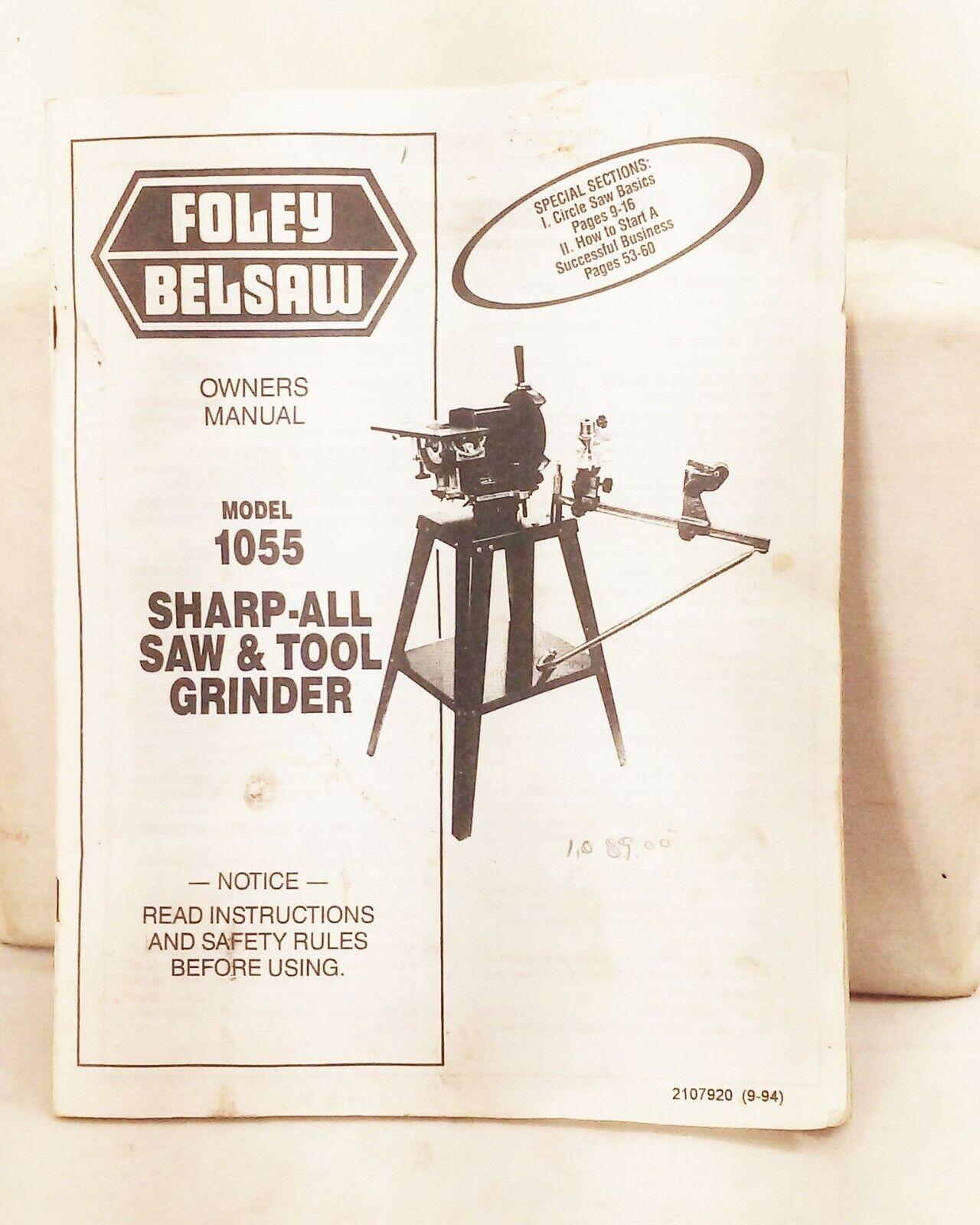 Vtg Foley belsaw 1055 sharp all saw tool grinder owner operator part manual book