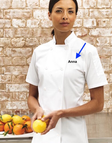 Women/'s Personalised Short Sleeve Chef/'s Jacket Ladies Chef Embroidered Top