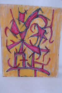 """Manny Blanc signed 1972 Modern Drawing ABSTRACT """"C """""""