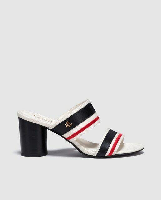 Ralph Lauren Red/Black Canvas/Leather Block Heel Sandals Size UK 6
