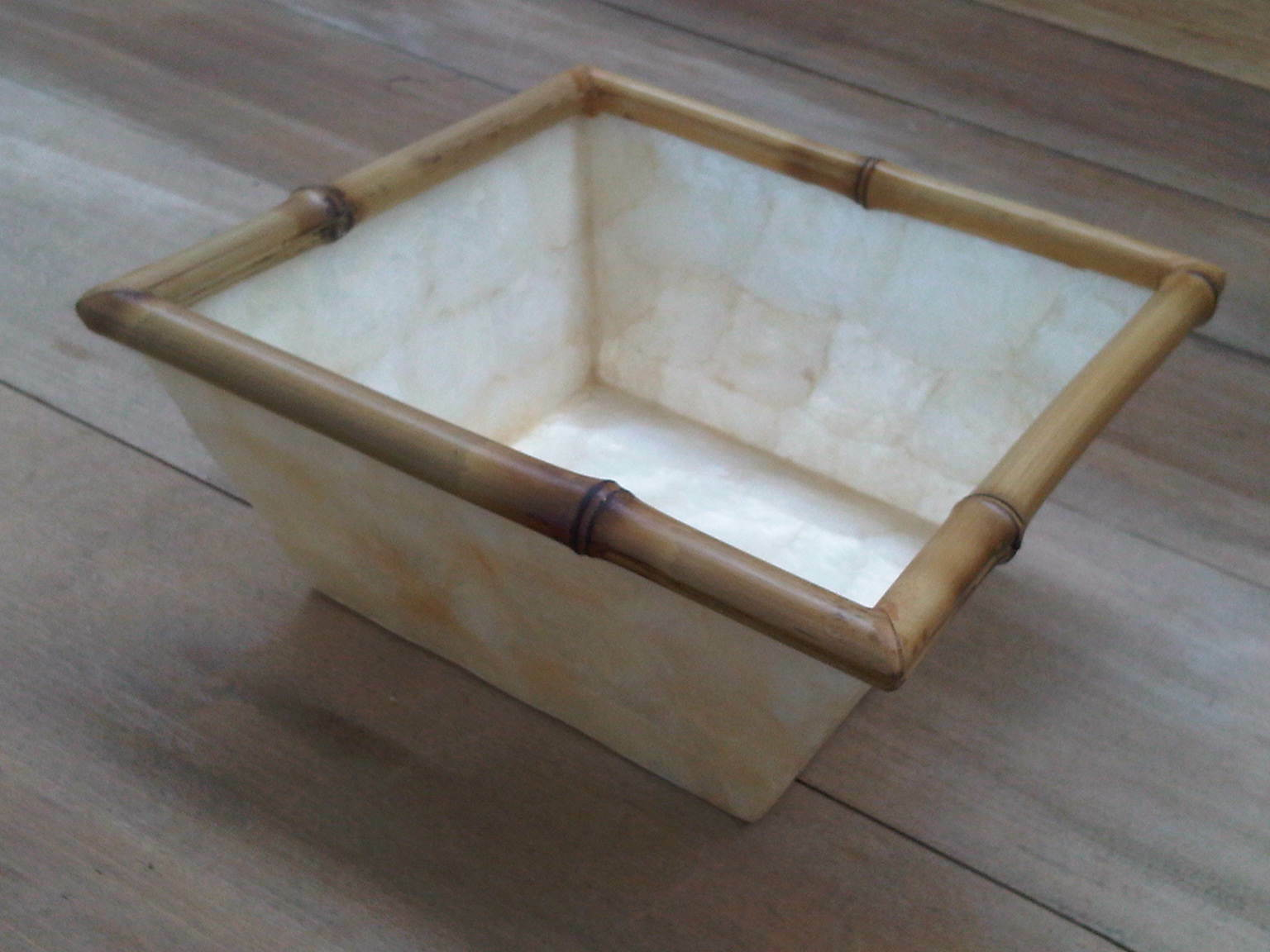 CAPIZ Muschel Schale Schale Schale Bambus natur HANDMADE Home Decoration Gefäß | Qualität  6f11c2