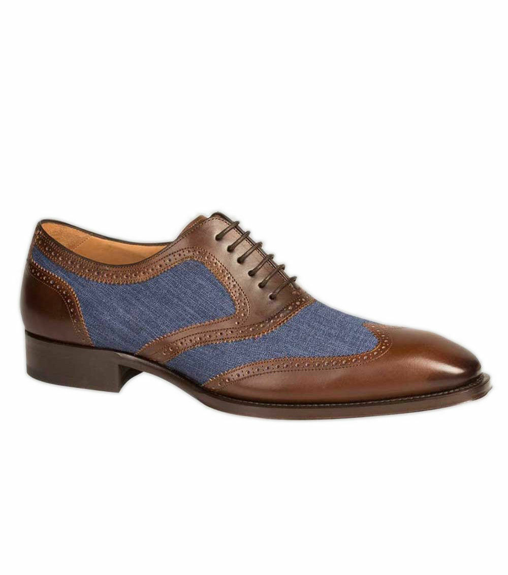 Handmade Men Wingtip Two Tone Formal shoes, Men Brown And bluee Denim shoes
