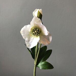 White-Faux-Silk-Hellebore-Xmas-Rose-Realistic-Artificial-White-Cream-Flowers