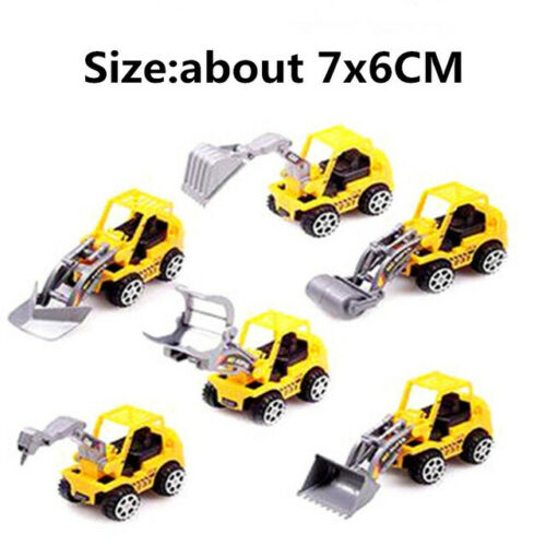 6Pc Digger Tractor Yellow Personalised Baby Birthday Cake Topper Decoration Tool