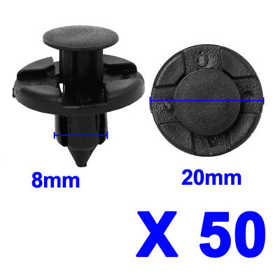 100pc 8mm Universal Car Auto Vehicle Dia Hole Plastic Rivets Push Fastener Clips