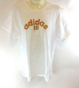 NEW-Girls-Youth-ADIDAS-Three-Stripe-White-Orange-Green-Logo-Cotton-Tee-T-Shirt