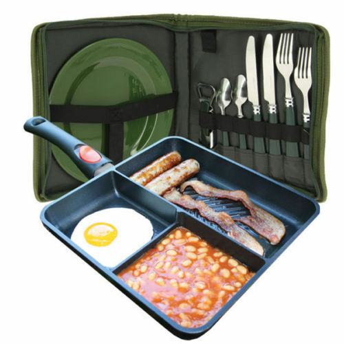 NGT CARP FISHING MULTI SECTION FRYING PAN + CUTLERY PLATE PICNIC SET CAMPING