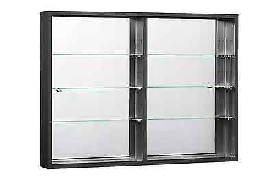 WALLMOUNTED GLASS DISPLAY CABINETS ORBIT SLIDING DOORS AND MIRROR