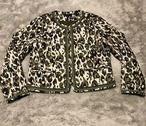 J-Crew-Quilted-Lady-Jacket-Women-s-Size-Medium-Autumn-Cheetah-Olive-Brown