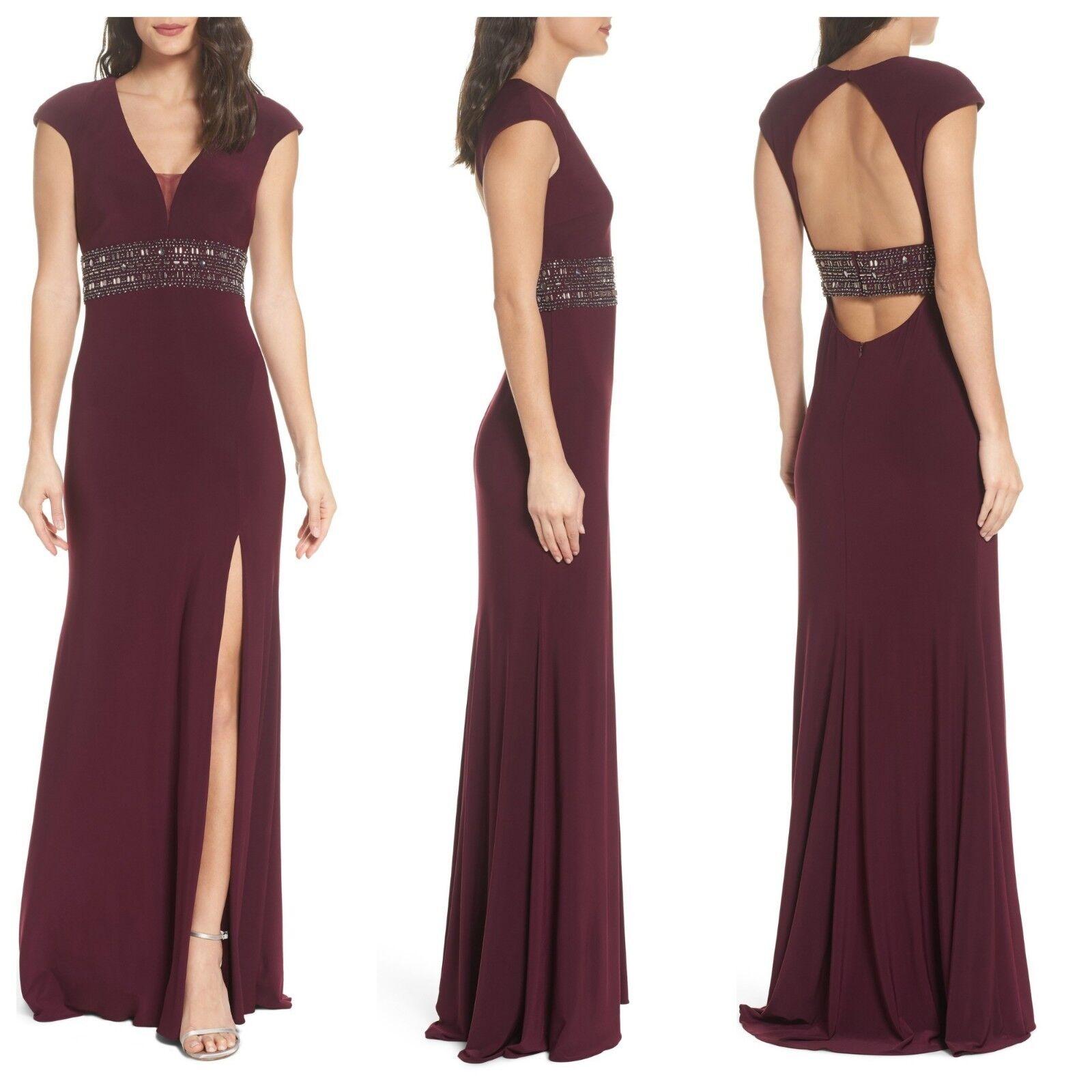 Nuevo  con etiquetas Xscape grano adornado vestido de manga casquillo Vino Rojo [Talla 2]  e309  moda clasica