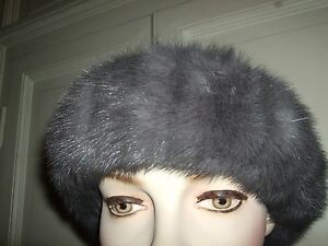 Nerz Pelliccia Fascia Cappello Grigio Headband Hat Zaffiro Pelz Mink Fur Visone tzdqawd