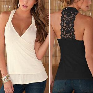 Damen-Tank-Tops-Shirt-Sommer-Spitze-Top-Shirts-Armelos-V-Ausschnitt-Weste-Vest
