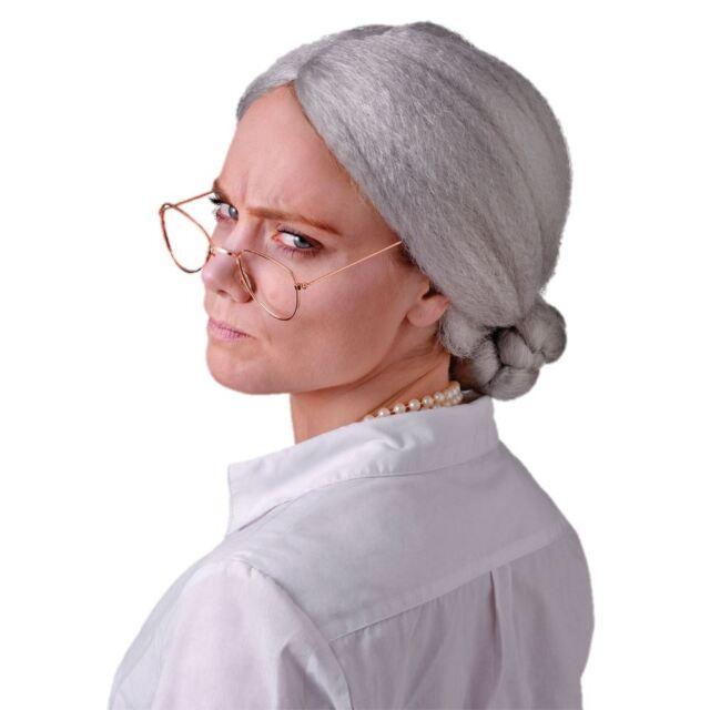 Old ladies grey wig bun granny grandma