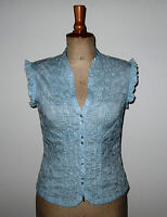Vintage Laura Ashley Cotton Top. Pale Blue Embroidered Country Style. UK 10