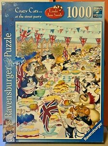 Jigsaw-Puzzles-1000Pieces-Crazy-Cats-Street-Party-by-Linda-J-Smith-Ravensburger