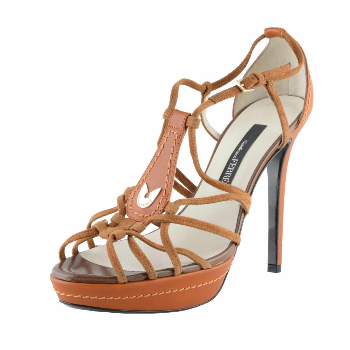 Gianfranco Ferre Women's Leather High Heel Open Toe Pumps shoes Sz 7 8 10 11