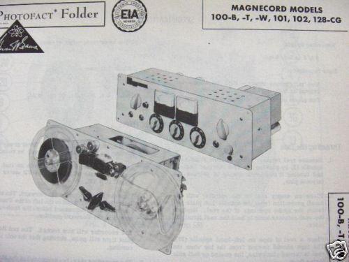 MAGNECORD 100-B,-T,-W,101,102 TAPE RECORDER PHOTOFACT