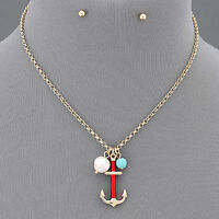 Gold Chain Pearl Turquoise Anchor Red Thread Pendant Necklace With Earrings