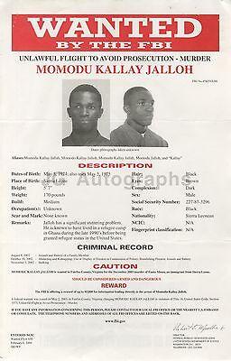 Murder Alert Wanted Notice Fbi Momodu Kallay Jalloh/unlawful Flight 2004 To Adopt Advanced Technology