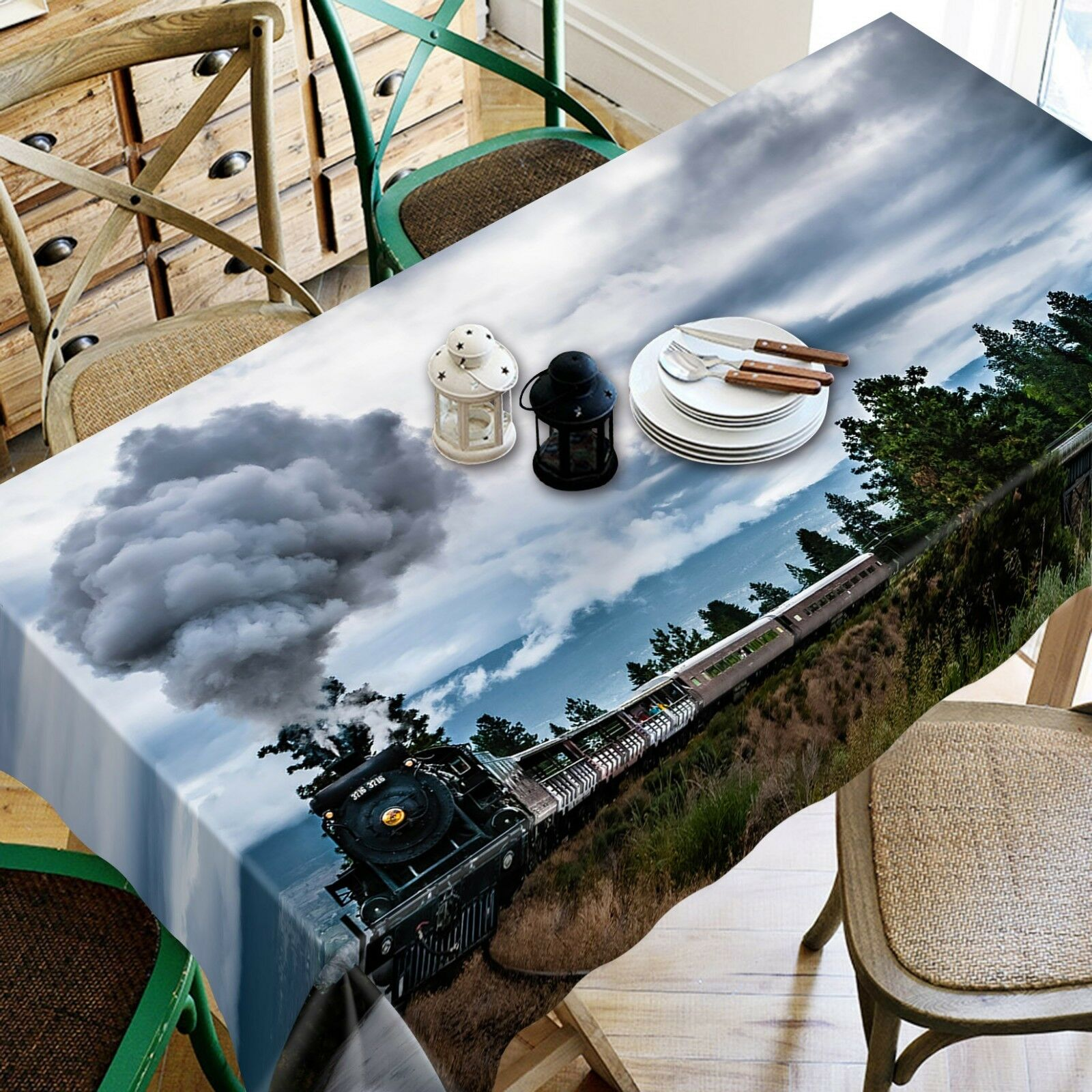 3D Train Hill Tree 24 Tablecloth Table Cover Cloth Birthday Party Event AJ Jenny