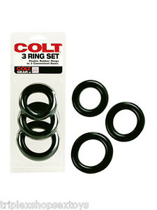 COLT-COCKRING-COCK-RING-SET-3-ANELLI-LUI-UOMO-40-45-50-mm-GOMMA-NATURALE