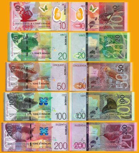 New: Sao Tome /& Principe,Complete Banknotes set 2018 all  5 notes P-New UNC