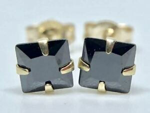 REAL-9K-SOLID-YELLOW-GOLD-PRINCESS-CUT-BLACK-DIAMOND-EARRINGS