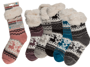 Winter Cold Weather Fluffy Socks Warm Cosy Comfort Socks Reindeer 6 Designs