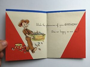 Image Is Loading Vintage 1940s WWII Era Happy Birthday Greeting Card