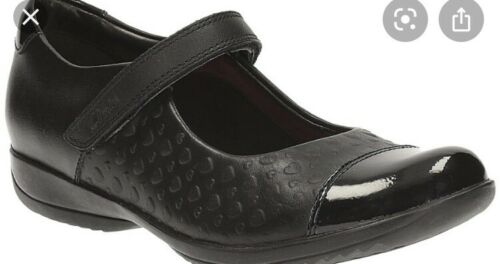 Clarks Girls Black Leather School Shoes Friend Play 12.5 G