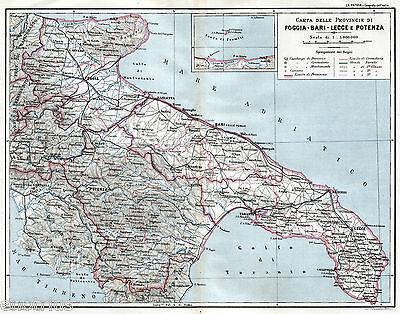 Mappa Puglia E Basilicata.Puglia E Basilicata Grande Carta Geografica Stampa Antica Passepartout 1899 Ebay