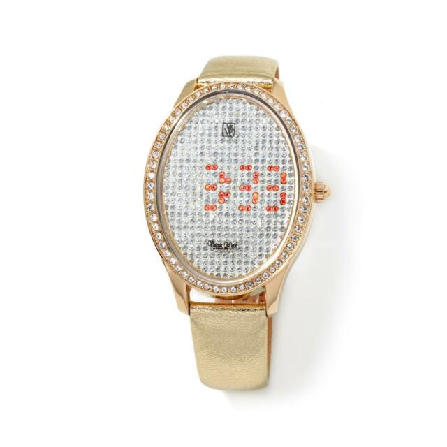 VICTORIA WIECK CRYSTAL LED DIAL GOLDTONE METALLIC LEATHER STRAP WATCH $119.90