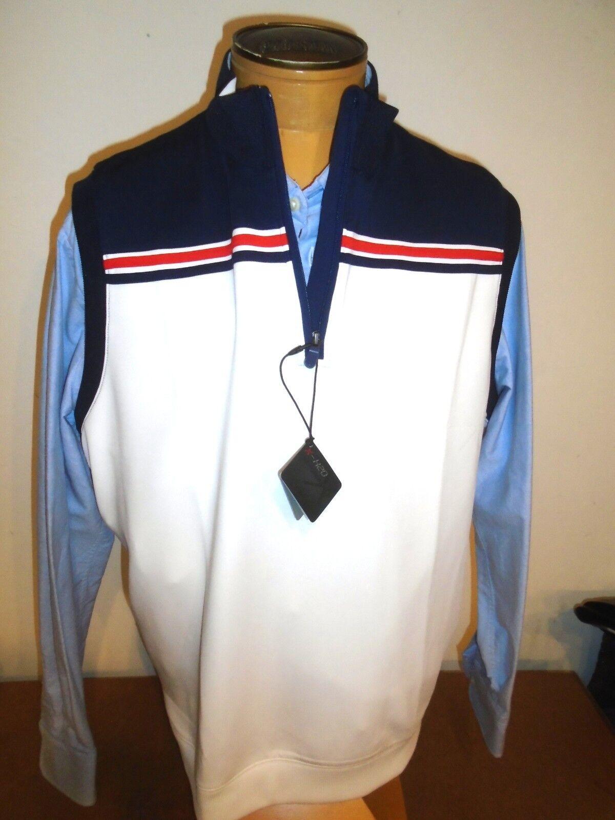 Bobby Jones X-H20 Performance Fabric Tech Stripe Quarter Zip Vest NWT XL