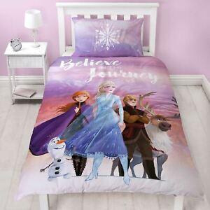Disney-Frozen-2-Housse-Couette-Simple-Set-Voyage-Filles-Polycoton-2-en-1-Design