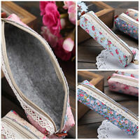 New Style Flower Floral Lace Pencil Pen Case Stationery Bag Small Pouch Holder