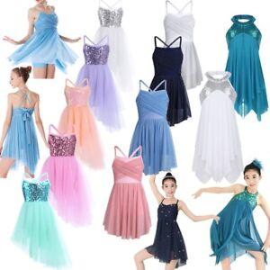 Girls-Lyrical-Ballet-Dance-Dress-Kids-Leotard-Tutu-Dancewear-Party-Fairy-Costume