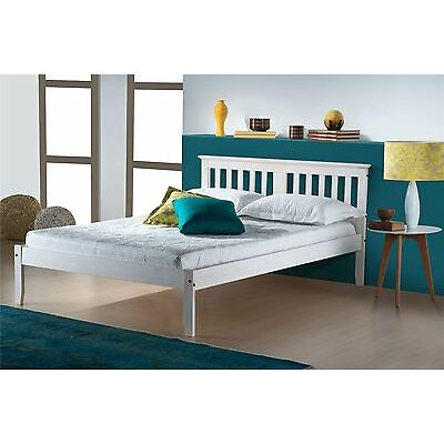 Birlea Double Salvador Solid Pine 4FT6 135CM Wood Bed Frame White Wash