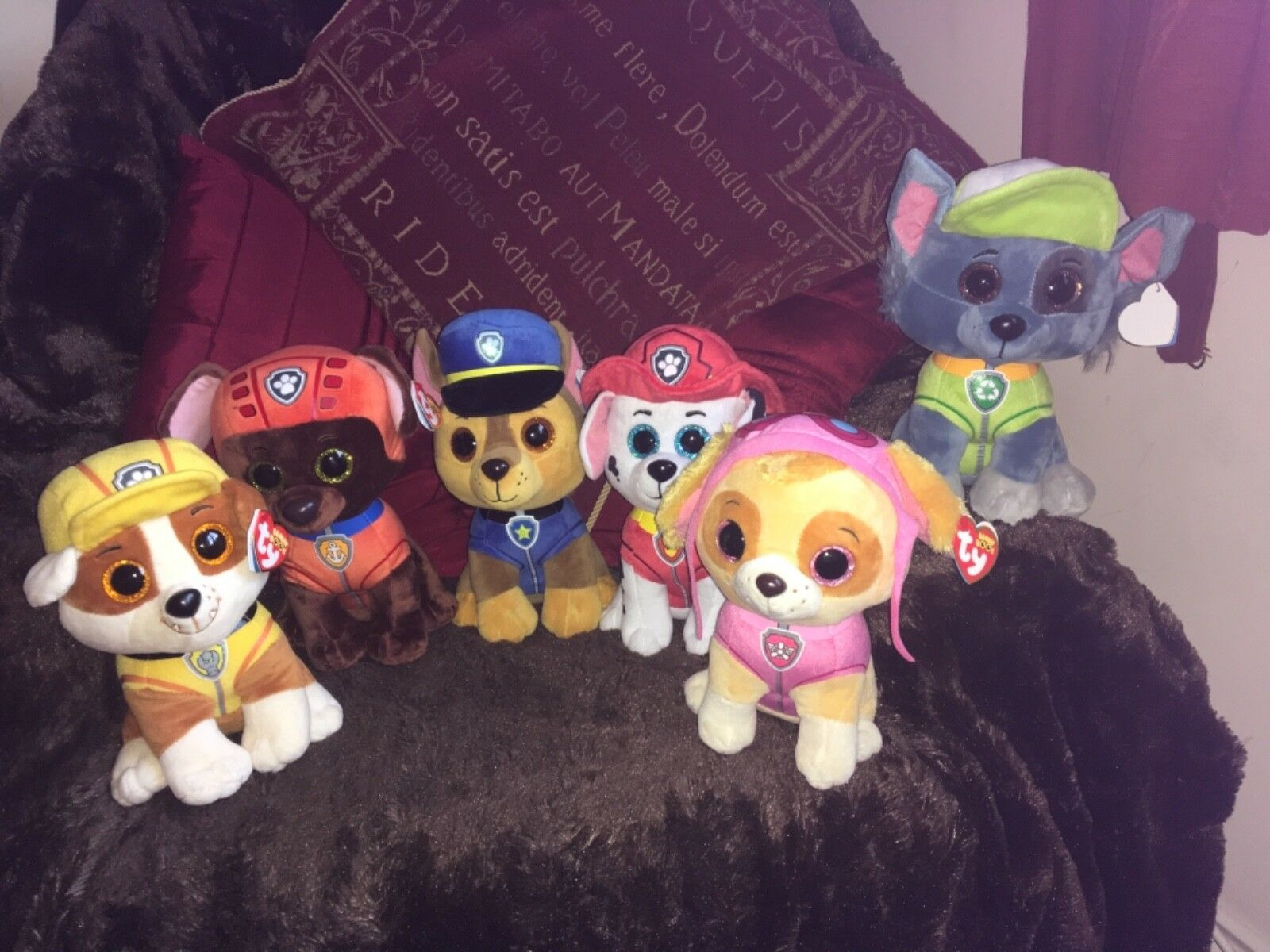 "FULL SET 6 X TY BEANIE BEANIE BEANIE BOO BUDDY PAW PATROL 6"" SOFT TOY PLUSH MARSHALL 222f40"