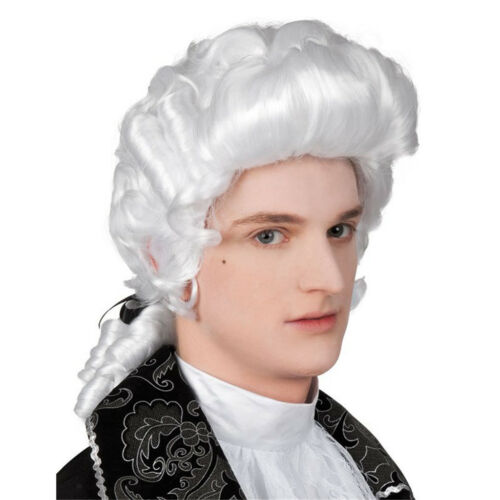 White Baroque Men Wig Hair George Washington Medieval Renaissance Accessory