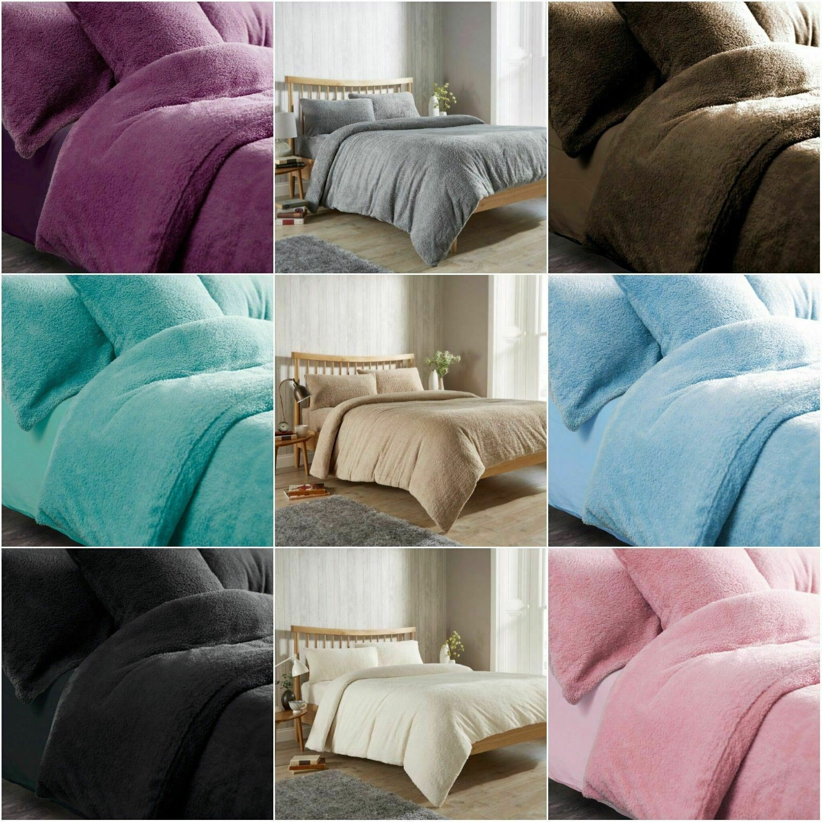 Double Teddy Fleece Duvet Cover Set with Pillow Case Thermal Warm Bedding Set
