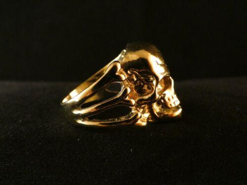 Biker anillo calavera 24 quilates dorado rock huesos Skull acero inoxidable