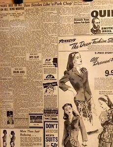 1945 Vintage Newspaper-Iwo Sizzles-Japs-Job Bill-Western Auto-Penney's Ad