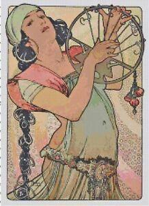 Vintage-Mucha-Gypsy-Handmade-DIGITAL-Counted-Cross-Stitch-Pattern-Needlepoint