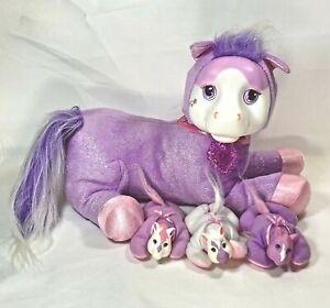 Purple Glitter Pony Surprise & 3  Babies Jazzy Plush Horse Ponies