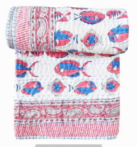 100/% Cotton Indian Ethnic Bedding Bedspread Kantha Quilt Throw Ralli Blanket New