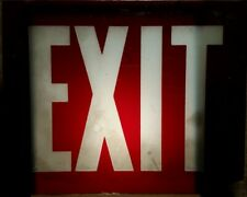 Vintage Glass Exit Sign Replacement 10 X 8 Section White Lettering On Red Sign