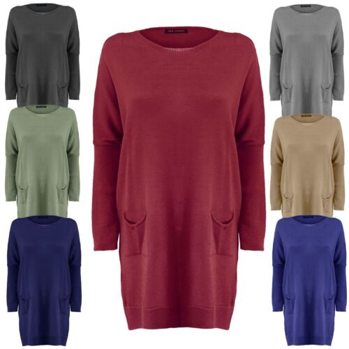 Ladies Women Knitted Batwing OverSized Fine Knit Ribbed Hem Jumper Dress Top