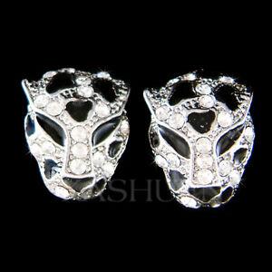 Navachi 18K GP Cheetah Leopard Head Enamel Clear Crystal Earrings Ear Stud B1014
