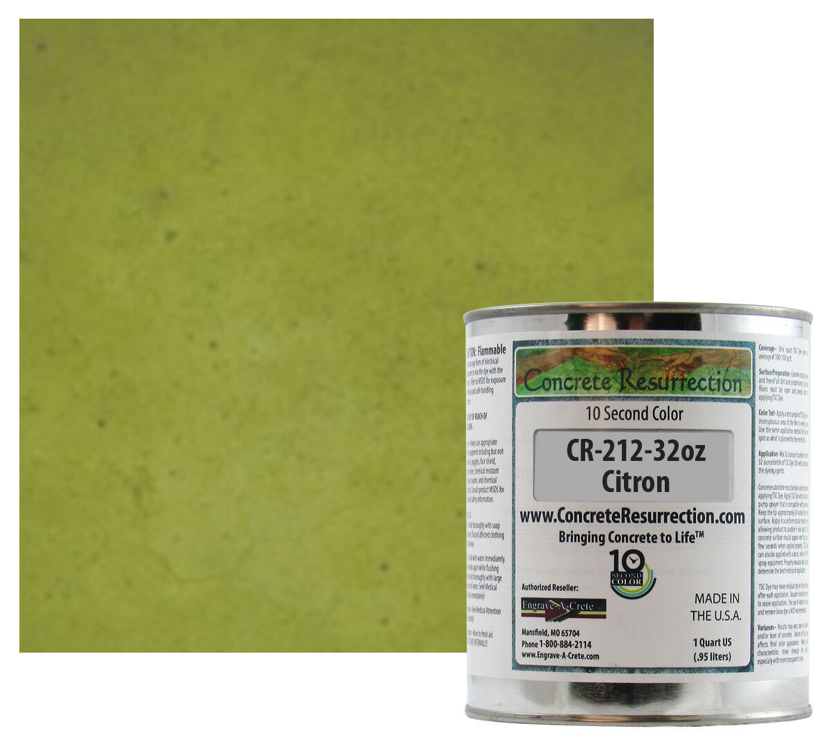 Fast Drying Concrete Stain-Professional-Easy to Use 100-150sq ft Citron